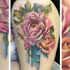Finished Zoe's peony and rose tattoo today.