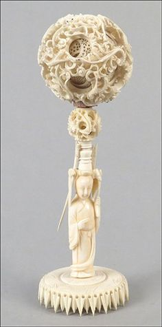 CHINESE CARVED IVORY PUZZLE BALL