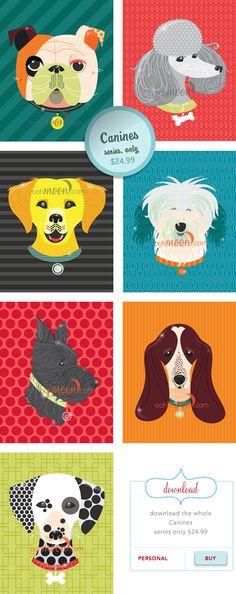 doggy illustrations at oohmoon.com