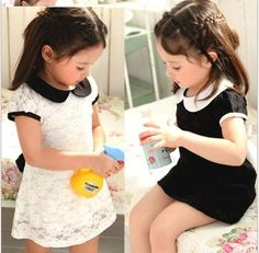 free shipping 2color white and black kids lace dress/girl beatiful princess dresses/children clothing with fashion belt-in Dresses from Apparel & Accessories on Aliexpress.com