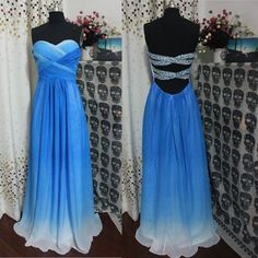 A-line Strapless Royal Blue Ombre Prom Dress,Cheap 2014 Prom Dresses, Long Chiffon Cheap Ombre Evening Dress,Ombre Bridesmaid Dresses