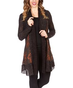 Look at this Nicole Sabbattini Black Shawl Collar Open Cardigan on #zulily today!
