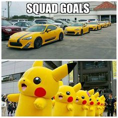 Stole the top photo from @snyperiflex but the Houston Pikachu army is slowly growing #scion #frs #frsrs1.0 #YuzuYellow #frs_86 #zn6 #rawdriving #86Chassis #86nation #FT86Daily #Gt86lifestyle #Pikachu