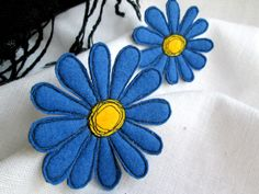 Brooch Blue Gerbera. 2in1 Set. Textile Art Felt Brooch. Free Hand Machine Embroidery. Mother's Day Gift. Idea for Giftring Celebration by SvitLoShop on Etsy