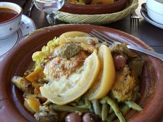 Wine pairing: North African food is very popular in the south of France and I ordered this unusual chicken and vegetable tagine. As it was a sweltering 33C we automatically reached for the ros, a pale, crisp dry style from Chateau Mourgues du Grs in the Costires de Nmes region around Arles. It matched the tagine perfectly, the slight spiciness bringing out all its delicate fruit. moroccan-dinner-party