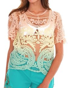 Day Dreaming Lace Top - Pink/Yellow - Piin | ShopPiin.com #cochella #festival #sale
