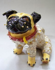 Mosaic Fawn Pug Dog Sculpture  Twinkie by animalinstincts on Etsy