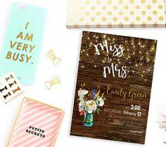 Bridal Shower invitation Miss to Mrs. Mason Jar Bridal Shower