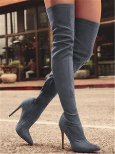 02341eb7443b Womens Casual Over The Knee Boots Thin High Heels Shoes