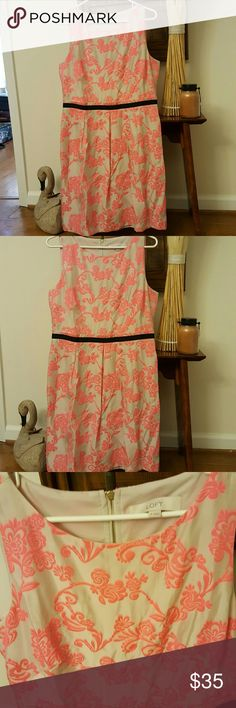 Beautiful LOFT dress Hot pink and cream accentuated with a delicate black band around waist. Zipper in back, interior lining. Needs to be ironed otherwise excellent condition. Beautiful dress! LOFT Dresses Midi