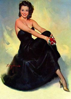 PinUp Beauty in Black -- Gil Elvgren