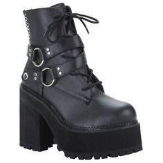 Demonia By Pleaser Assault 101 Platform Ankle Boot Hot Topic ($101) ❤ liked on Polyvore featuring shoes, boots, ankle booties, black high heel booties, black platform booties, lace up ankle boots, black booties and platform booties