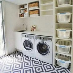 Laundry room storage ideas include installation of stock cabinetry, racks, shelves, etc. in a smart way to make the room look elegant and organized. room ideas organization 15 Perfect Small Laundry Room Storage Ideas To Consider 2 Modern Laundry Rooms, Laundry Room Layouts, Laundry Room Remodel, Laundry Room Cabinets, Farmhouse Laundry Room, Laundry Room Organization, Laundry Storage, Laundry Room Design, Diy Cabinets