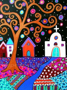 Whimsical Town Original Painting on stretched gallery-wrapped canvas. Starting your Christmas shopping early? This is a perfect gift for a loved one! penny auction.....