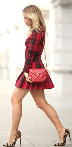 Dkny Red And Black Drop Waist Skirt Plaid Long Sleeve Mini Dress by Brooklyn Blonde--I NEED some tiger print heels! Little Dresses, Sexy Dresses, Short Dresses, Brooklyn Blonde, Great Legs, Nice Legs, Long Sleeve Mini Dress, Boutique Dresses, Sexy Legs