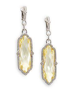Judith Ripka Oblong Faceted Stone & Sterling Silver Earrings