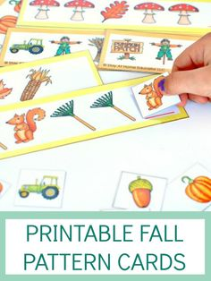 autumn activities for preschoolers - fall pattern cards for preschool math center
