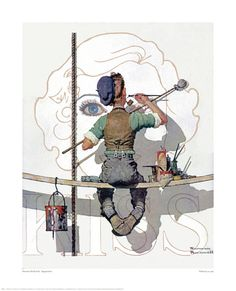 """""""Billboard Painter"""" ... by Norman Rockwell - Saturday Evening Post Cover February 9, 1935"""