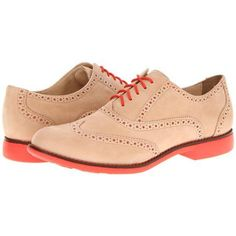 Cole Haan Gramercy Oxford Women's Lace Up Wing Tip Shoes - Sandstone Nubuck/Orange Pop
