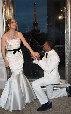 My favorites! Mariah Carey and Nick Cannon renew their vows every year on their anniversary.  Celebrating their 4th anniversary in Paris.