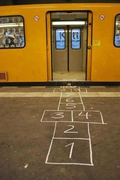 Since you've already got the chalk out, you might as well draw a hopscotch path leading out from the front door to the car. | How To Give Your Kid The Best First Day Of School Ever