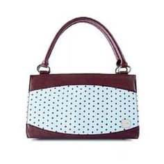 Miche Bag Blue Shell With Brown Polka Dots