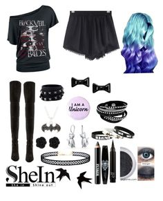 """""""Gothic Glory"""" by yournewbestfreind ❤ liked on Polyvore featuring Stuart Weitzman, Ardency Inn, LULUS, Bling Jewelry, Valentino, Marc by Marc Jacobs, black, gothic, cutoffs and contestentry"""