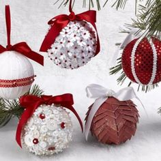 5 Christmas Ornaments in 5 Minutes {Handmade Christmas Oranments}