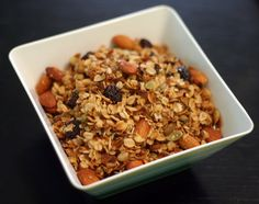 Almond Cherry Coconut Granola - Made in a crockpot  5 cups old fashioned rolled oats  1 cup raw, whole almonds  1/2 cup dried tart cherries  1/2 cup pepitas (unsalted hulled pumpkin seeds)  1/4 cup unsweetened shredded coconut  1/4 cup canola oil  1/4 cup honey  1 teaspoon vanilla
