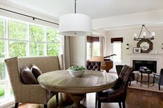Marianne Simon Design: Dining room with Restoration Hardware Round Shade Pendant, round dining table, wingback ...