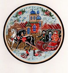 Folk Gorodets painting from Russia