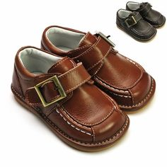 Boy Squeaky Shoes, Brown/Dark Brown, Decorative Buckles, Removable Squeaker (Toddler/kid/children) Squeaky Shoes HLT. $32.99