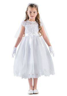 Lace And Organza Cap Sleeve Illusion Lace Bodice Communion Dress With Full Skirt And Lace Hem- Girls 7-16