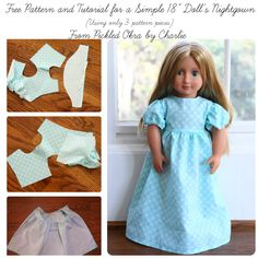 """Pickled Okra by Charlie: Free Pattern & Tutorial for a Simple 18"""" Doll's Nightgown"""