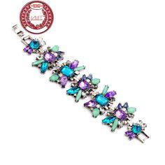 HALIFE Brand Women's Luxury Vintage Style Brand Flower Shape Luxury Crystal Stone Bracelet
