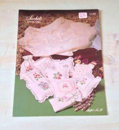 Vintage Sachets Country Crafts Cross Stitch Patterns Leaflet No. 21, 8 Designs