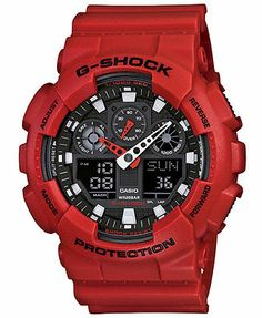 G-Shock Watch, Men's Analog Digital Red Resin Strap GA100B-4