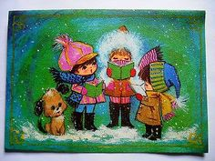 VTG Mid Century 1960's Christmas Greeting Card Children Caroling Dog Puppy