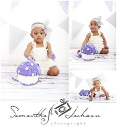 Cake smash session. www.samanthajacksonphotography.co.za Professional cake smash shoots Studio based in Table View, Cape Town, Parklands 1 year old toddler session Cake smash Silver and purple theme