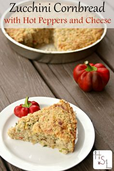 Use up garden fresh veggies in this Zucchini Cornbread with Hot Peppers and Cheese for wonderful side dish to soup or salad.