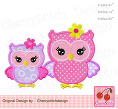 Owl  MOM with Baby boy and girl, Mother's Day owl and Father's Day owl embroidery applique,Machine Embroidery applique design FM061 by CherryStitchDesign on Etsy