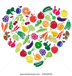 vector heart made of fruits and vegetables - stock vector