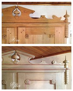 Detail of wardrobe, Swedish country style. Before and after. Chateau Grey, Original, Primer Red, clear and dark wax.