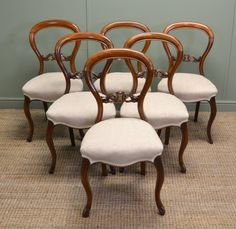 Set of Six Victorian Walnut Antique Balloon back Dining Chairs