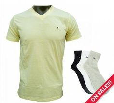 Tommy Hilfiger Yellow V Neck T-Shirt with Tommy Hilfiger Socks MRP Rs 1,110 @ Rs. 711