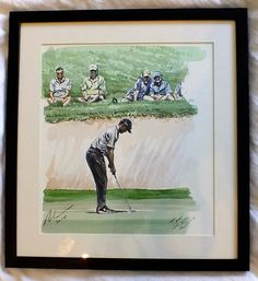 Golfing Greats are painted by the celebrated Sporting Artist, Mark Robinson. Original Oils, Acrylics and Watercolors are available, as affordable prints from the paintings as well as originals from the collection. Robinson Golf Art was set up to promote M Golf Card Game, Dubai Golf, Golf Art, Miniature Golf, European Tour, Tiger Woods, Classic Golf, Painting On Wood, New Art