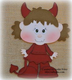 Devil Girl Premade Halloween Scrapbooking by MyCraftopia on Etsy, $5.95
