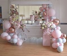 Infothesweetlife net au on happiness is on its way! lisa s baby shower sina dimauro styling cart pink plinth cake stands balloon art and dessert Balloon Backdrop, Balloon Garland, Balloon Decorations, Birthday Party Decorations, Birthday Parties, Wedding Decorations, Birthday Celebration, Christening Decorations, Balloon Centerpieces