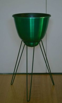 Retro MID Century Green Anodised Aluminium Hairpin POT Plant Planter Stand | eBay