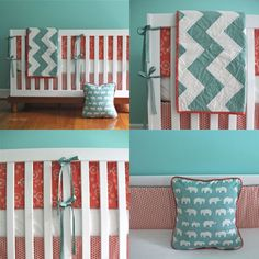 organic coral and aqua 7piece bedding by iviebaby on Etsy
